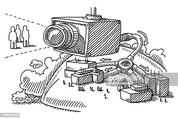 big brother concept surveillance camera drawing - big brother orwellian concept stock illustrations, clip art, cartoons, & icons