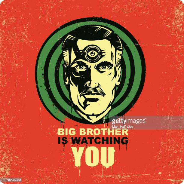 big brother is watching you illustration - conspiracy stock illustrations