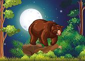 Big brown bear in full moon night