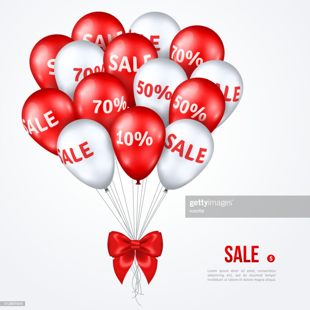 Big Bunch of Red and White Shining Sale Balloons
