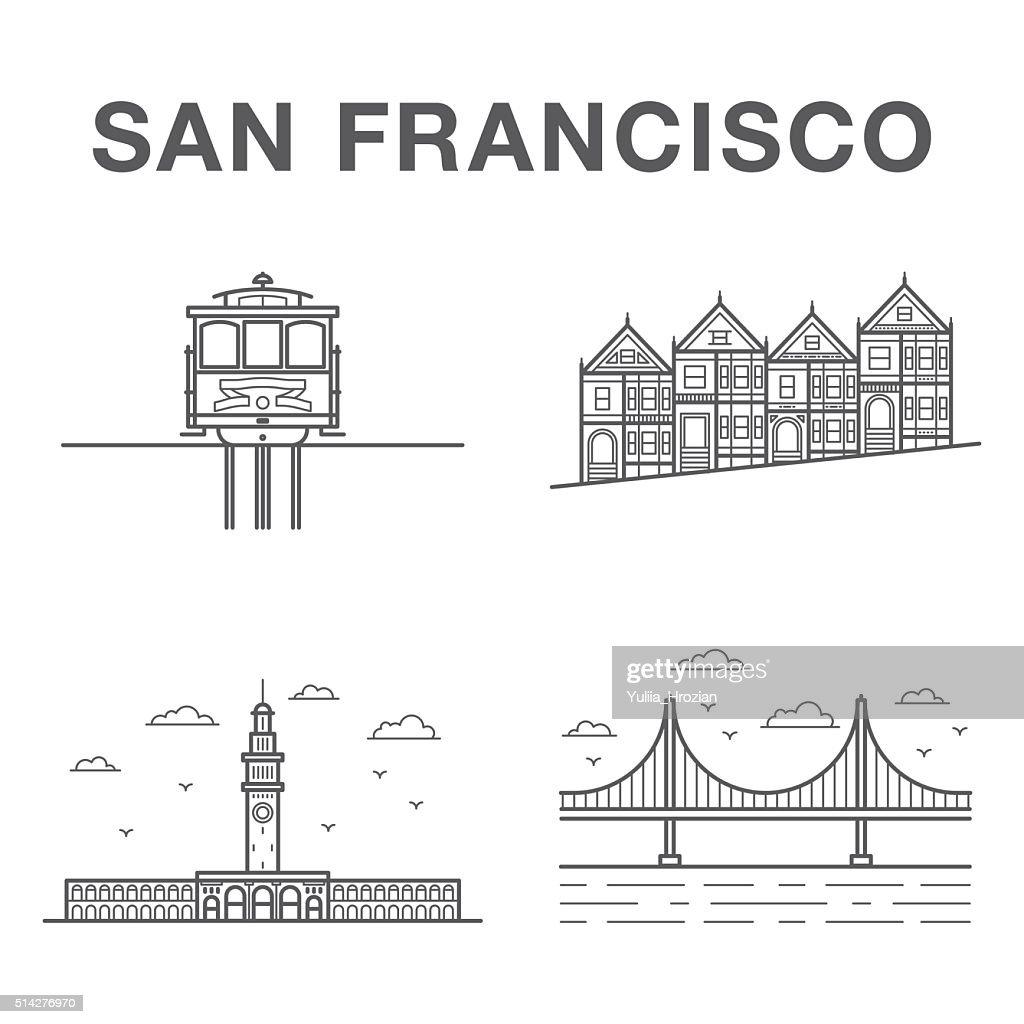Big bundle of world famous San Francisco city landmarks
