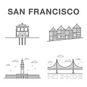 Big bundle of world famous San Francisco city landmarks