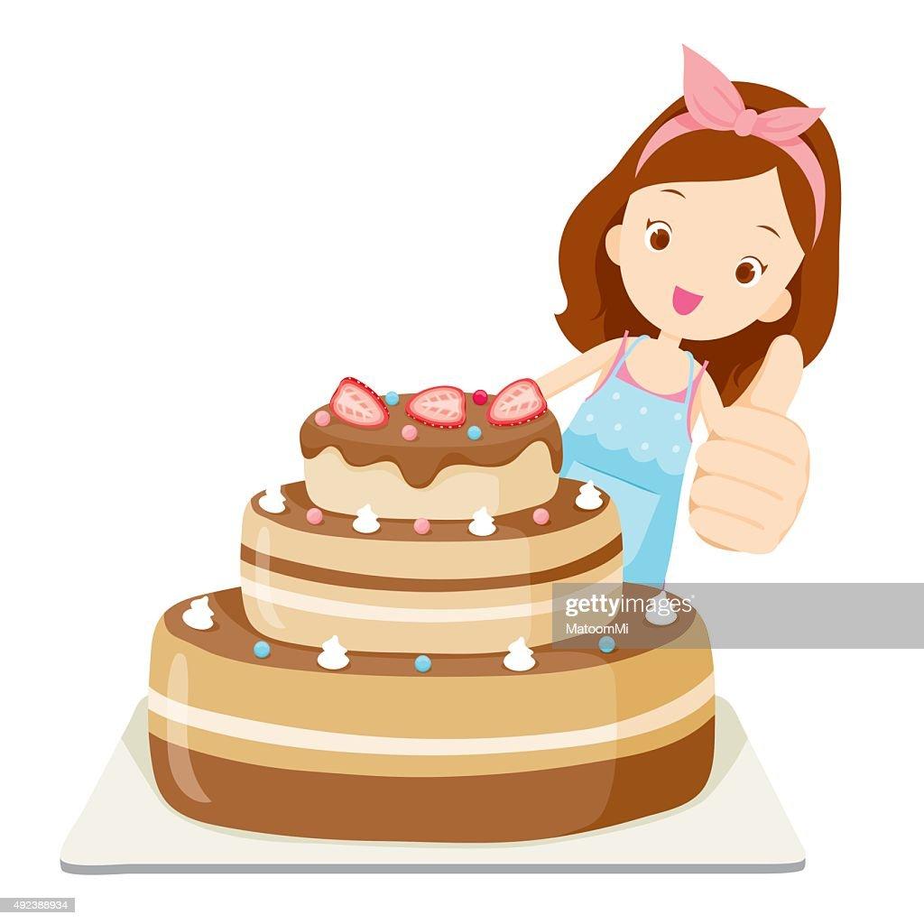 Big Cake With Girl Thump Up