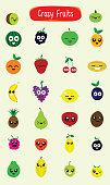 Big cartoon set with fun emotional fruits