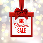 Big Christmas sale, square banner in form of gift.