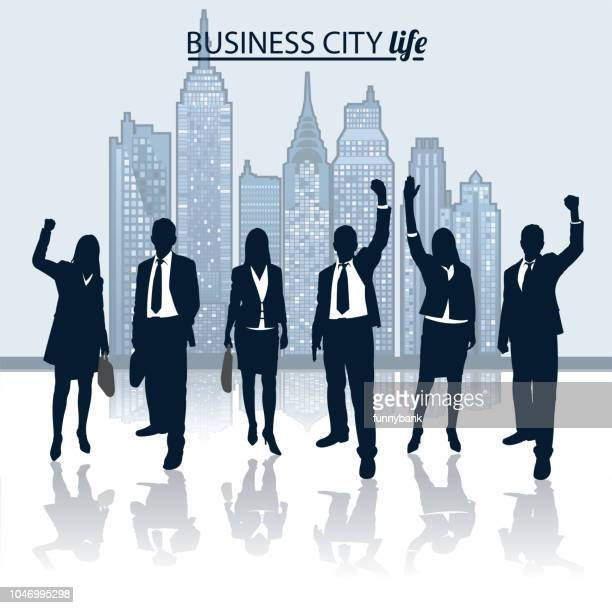 big city business people - businesswear stock illustrations
