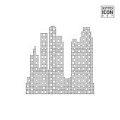 Big City Dot Pattern Icon. Big City Dotted Icon Isolated on White Background. Vector Icon of Big City. Business Center