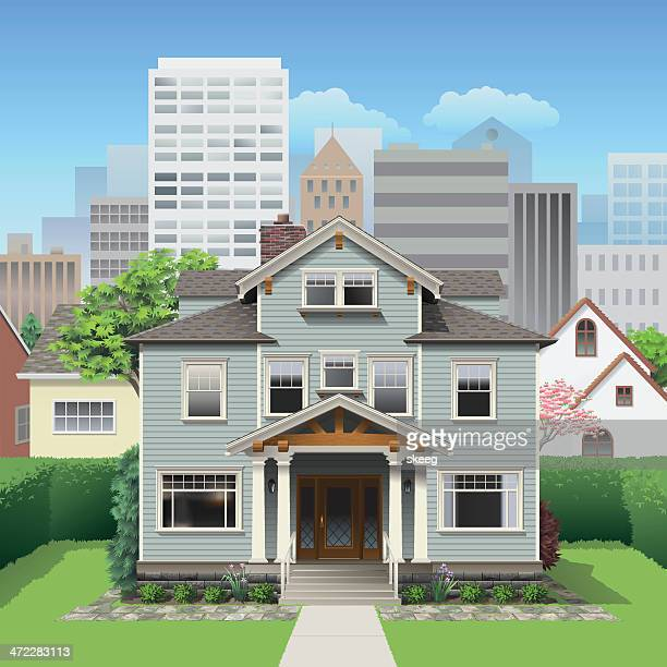 big city house - house exterior stock illustrations, clip art, cartoons, & icons