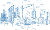 Big city landscape with different buildings. Vector hand drawn illustrations