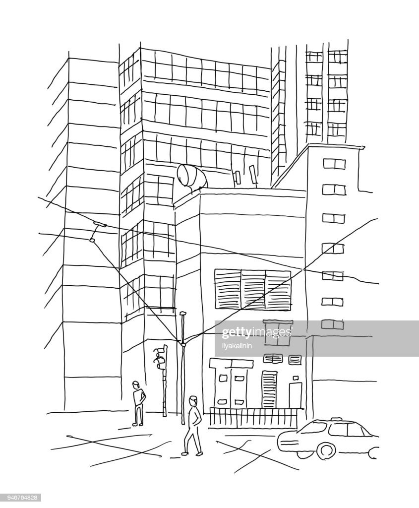 Big City outdoors courtyard town. Sketch, drawing by hand. Hand drawn black line vector illustration