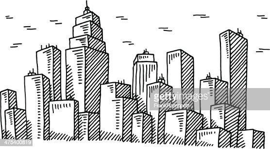 Big City Skyline Drawing Vector Art