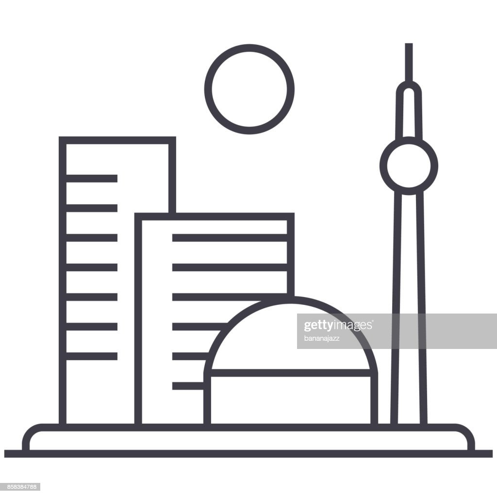 big city vector line icon, sign, illustration on background, editable strokes