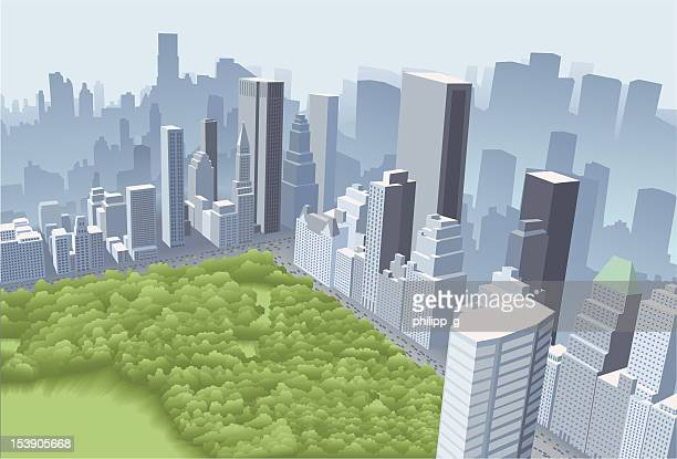 big city with park - aerial view stock illustrations