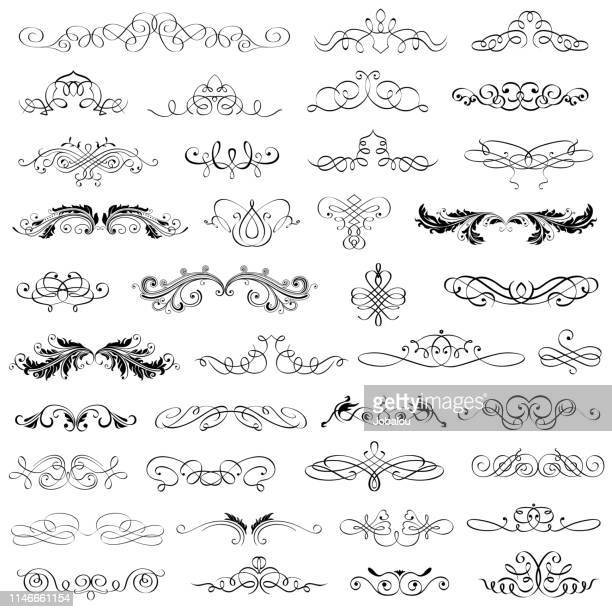big collection calligraphic and flourishes elements - decoration stock illustrations