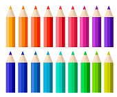 Big collection of colored pencils. Flat cartoon style. Vector illustration isolated on white background