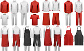 Big collection of culinary clothing, white and red suits. Vector.