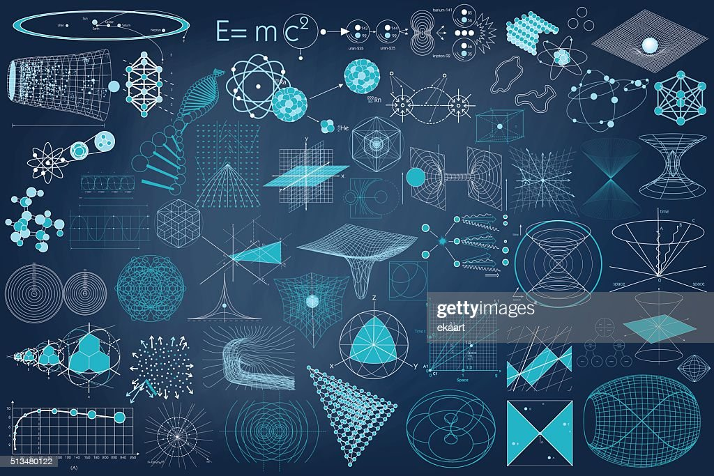 Big collection of elements, symbols and schemes of physics