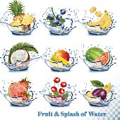 Big collection of fruit in a water splash.