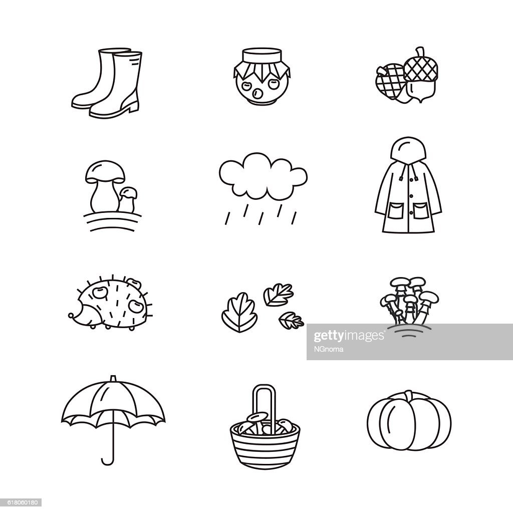 Big collection of linear icons with different autumn and fall