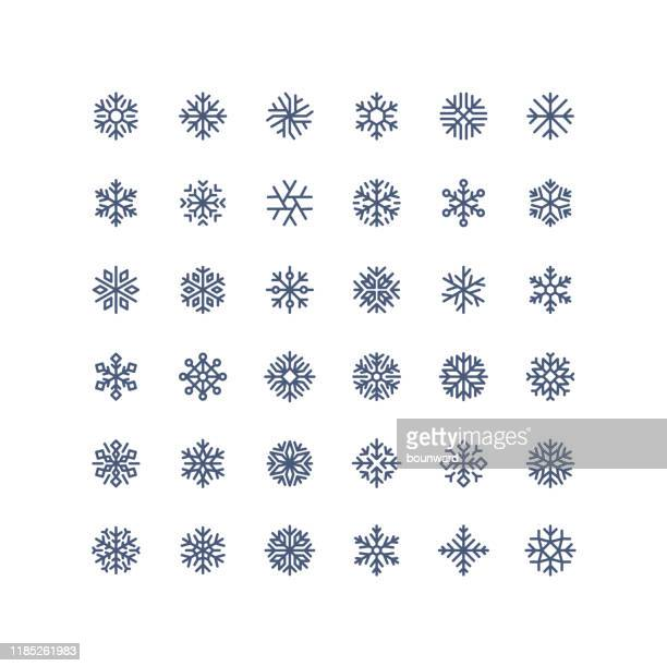 new! big collection of outline snowflake icons - snowflake shape stock illustrations