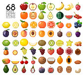 Big collection of pixel fruits, berries and nuts