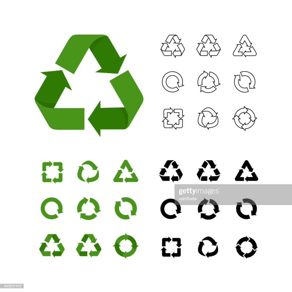 Big collection of vector recycle reuse icons various style linear