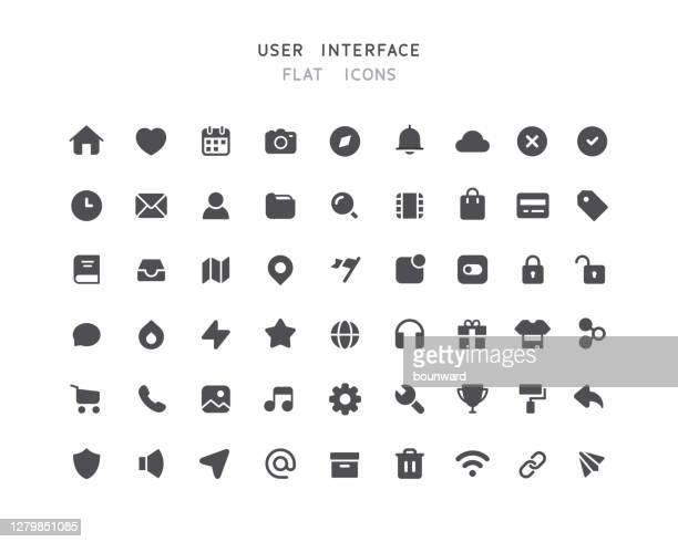 illustrazioni stock, clip art, cartoni animati e icone di tendenza di 54 grande collezione di icone piatte dell'interfaccia utente web - interfaccia utente grafica