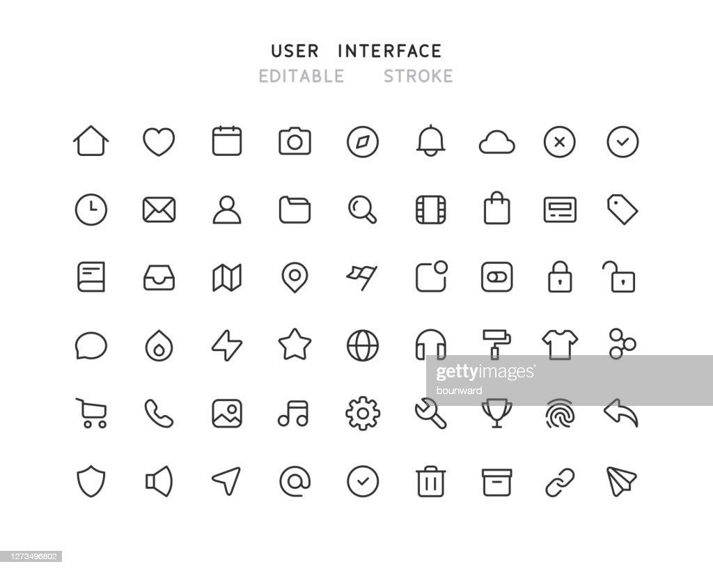 54 Grote verzameling webgebruikersinterfacelijnpictogrammen bewerkbare lijn : Stockillustraties