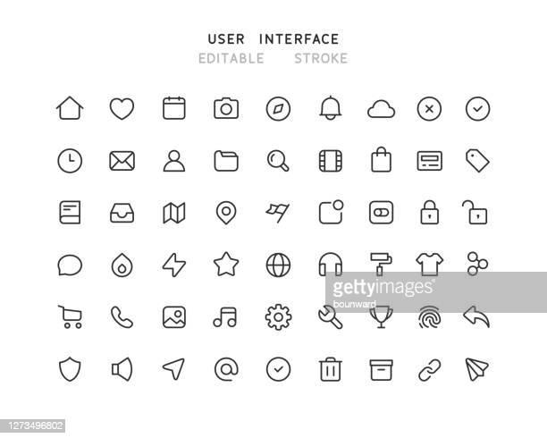 54 webユーザーインターフェイスラインアイコン編集可能なストロークの大きなコレクション - gui点のイラスト素材/クリップアート素材/マンガ素材/アイコン素材