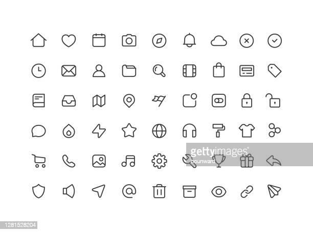 54 große sammlung von web-benutzeroberfläche linie symbole editierbaren strich - graphische benutzeroberfläche stock-grafiken, -clipart, -cartoons und -symbole