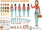 Big creation kit of girl mechanic in working clothes. Vector constructor with body parts