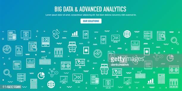 big data & advanced analytics outline style web banner design - internet der dinge stock-grafiken, -clipart, -cartoons und -symbole