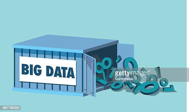big data analisi. container storage metaphor - sammlung stock-grafiken, -clipart, -cartoons und -symbole