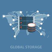Big data and global storage flat design illustration