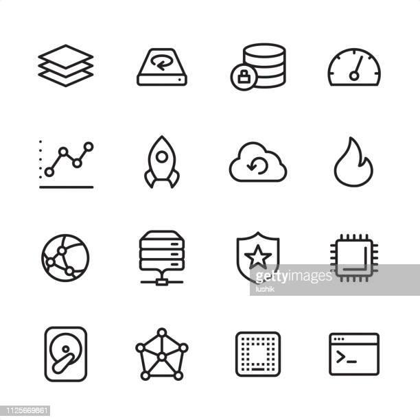 big data and hosting - outline icon set - encryption stock illustrations