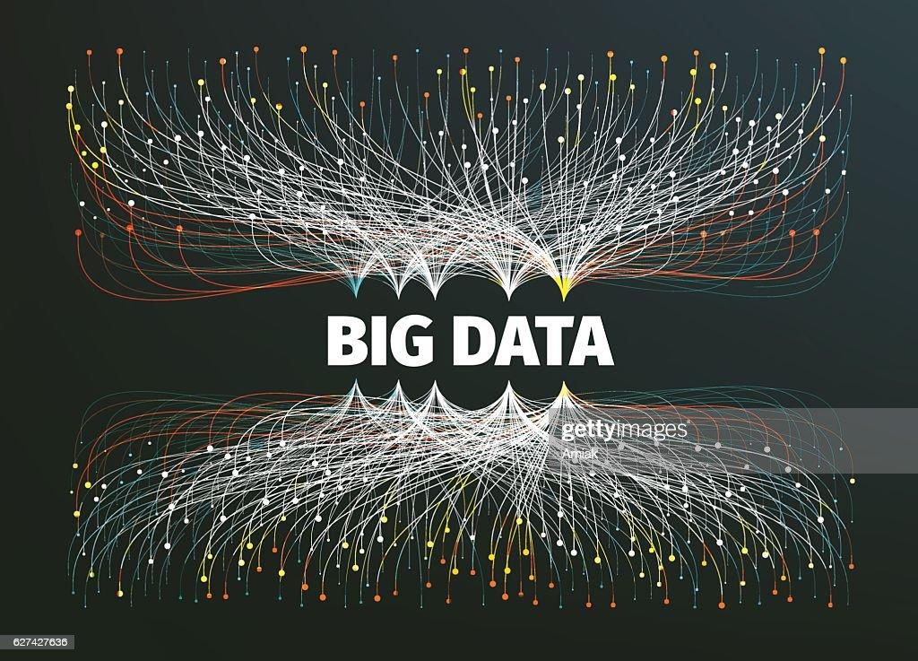 big data background vector illustration. Information streams. Future technology