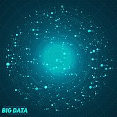 Big data blue visualization. Futuristic infographic. Information aesthetic design. Visual data complexity. Complex data threads graphic. Social network representation. Abstract data graph.