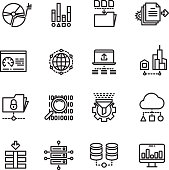 Big data cloud technology services thin line vector icons