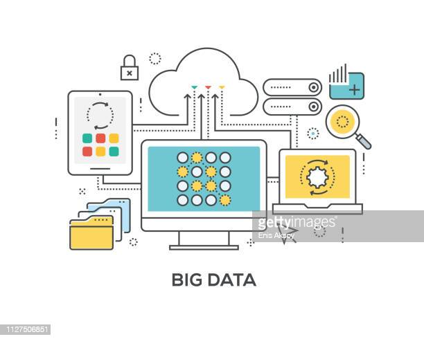 big data-konzept mit symbolen - big data stock-grafiken, -clipart, -cartoons und -symbole