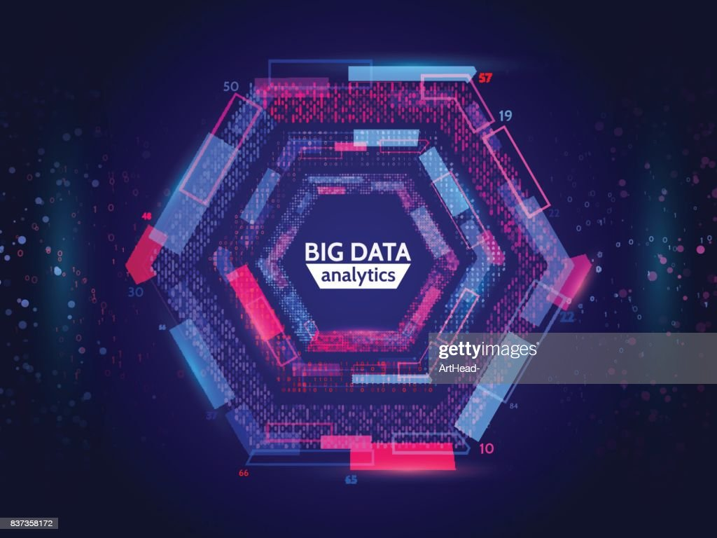 Big data connection structure. Abstract element with lines, dots and binary code. Big data visualization.