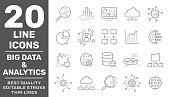 Big Data, Database analytics, information technology, digital processign icons lines set isolated vector illustration. Editable Stroke. EPS 10