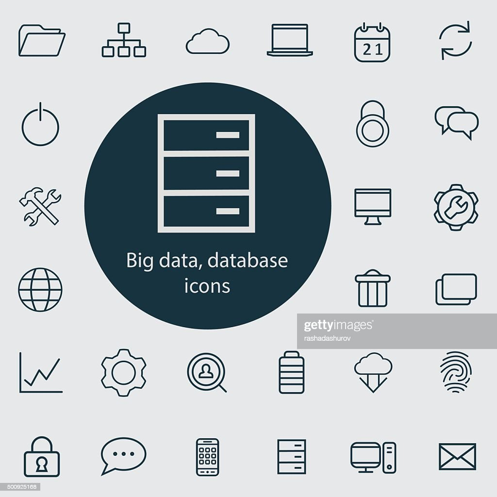 big data, database outline, thin, flat, digital icon set