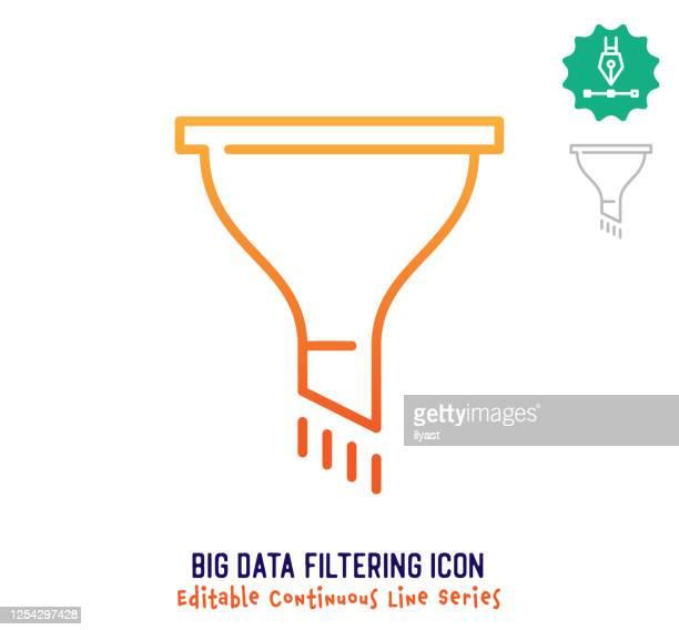 ilustraciones, imágenes clip art, dibujos animados e iconos de stock de big data filtering línea de trazo editable de línea continua - filtración