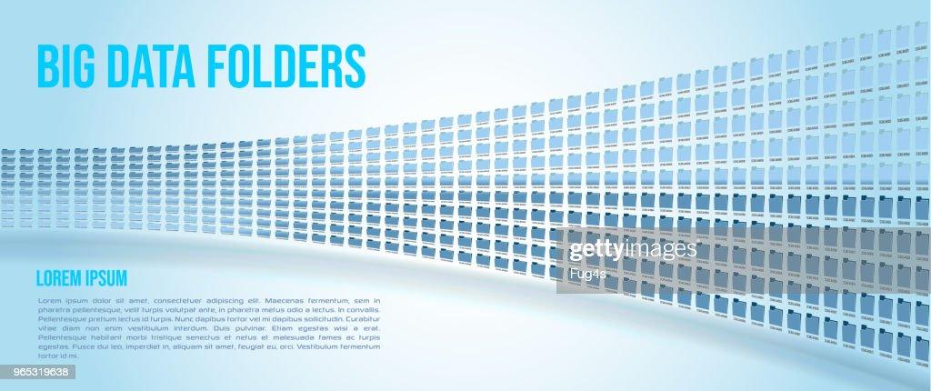 Big data folders on blue gradient background