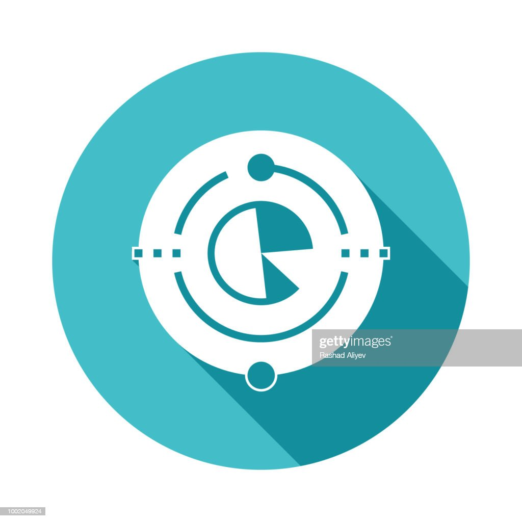 big data icon in Flat long shadow style