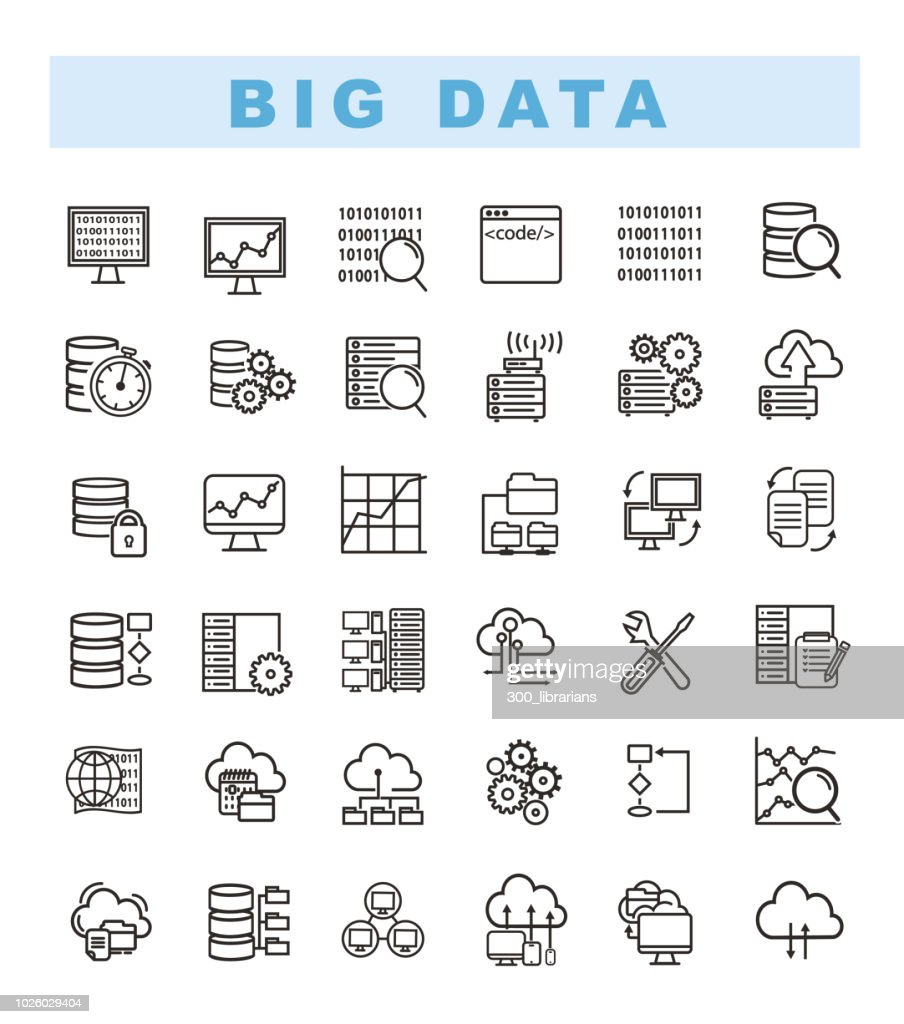 Big data icons set and web analytics icons set