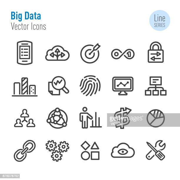 big data icons - vector line series - verification stock illustrations, clip art, cartoons, & icons