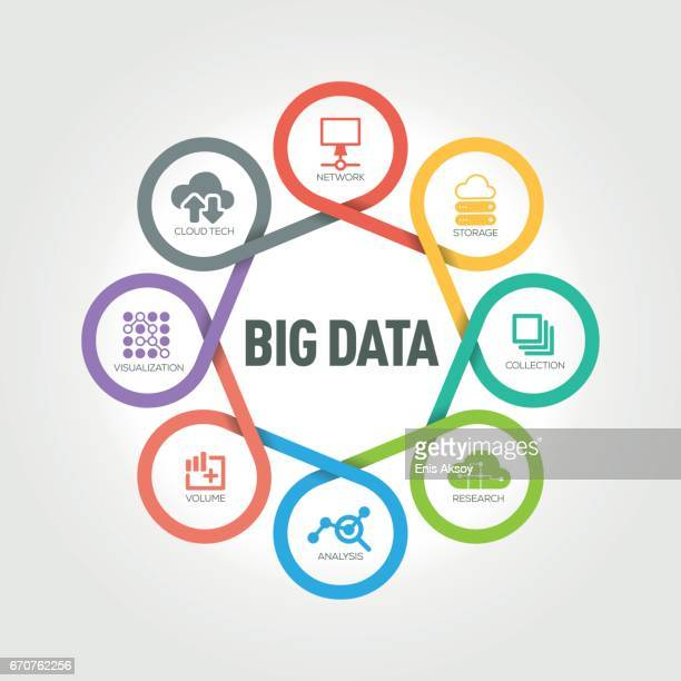 Big Data infographic with 8 steps, parts, options