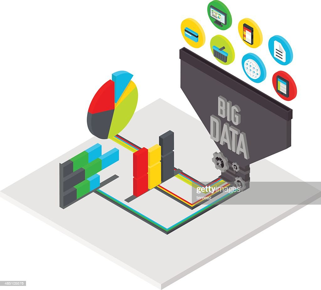 Big data isometric illustration