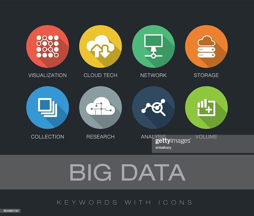 Big Data keywords with icons : stock illustration